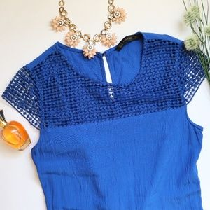 Zara Embroidered Caged Cobalt Blue Dress S